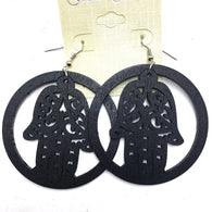 Wooden hands of Hamsa earrings - Circle