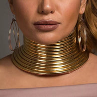 Gold Leather Choker Collar Necklace