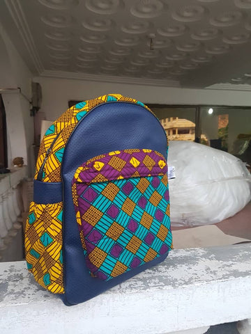 Navy blue - Leather and African print backpack