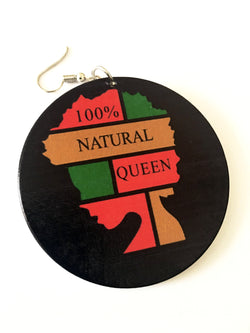 100% Natural Queen wooden earrings