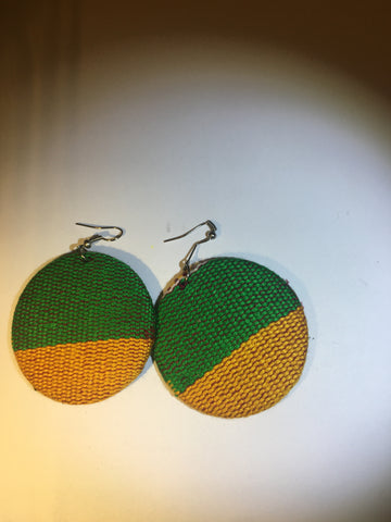 Green and Gold Kente earrings