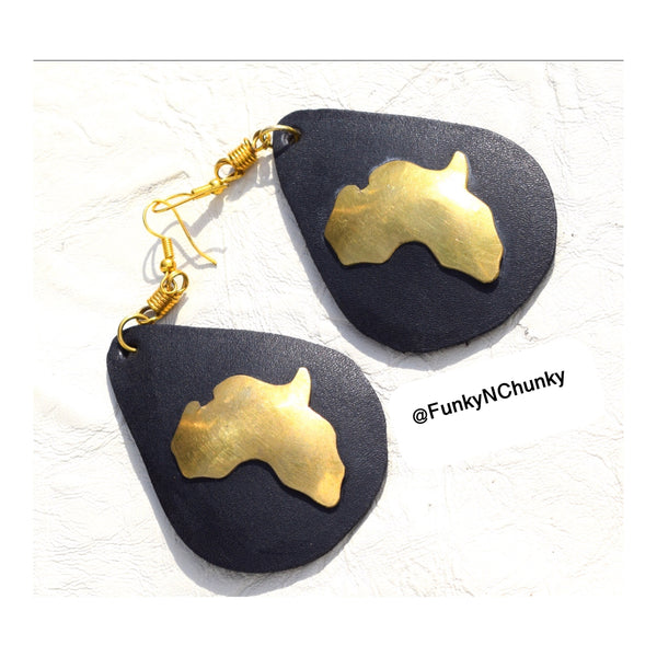 Leather and brass statement Africa earrings