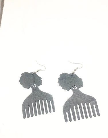 Afro Head - Afro Comb Wooden Earrings