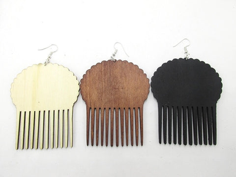 Afro puff wooden earrings
