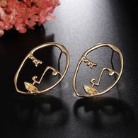 2018 New Arrival Abstract Stylish Hollow Out Face Statement Earrings