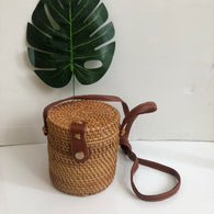 Hand Woven Rattan Straw Bags Satchel Circle Bag