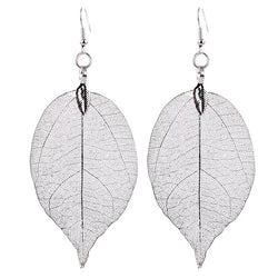 Silver Leaf Earrings - Natural Leaf shape