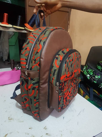 Brown Handmade Leather African print backpack