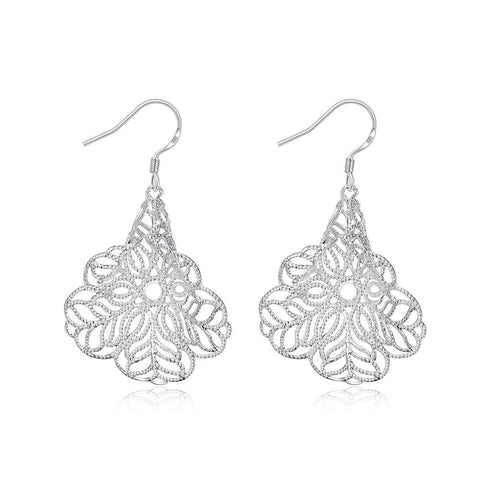 Hollow Leaf Shaped Dangle Earrings