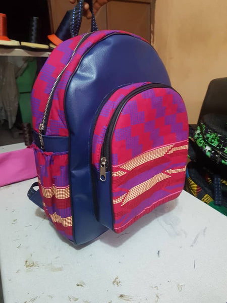Blue Handmade Leather African print backpack
