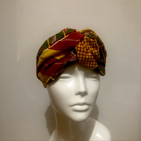 Green, brown and yellow mix African print turban style headband