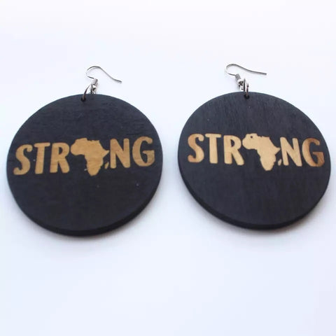 STRONG Black Round - Wood Earrings