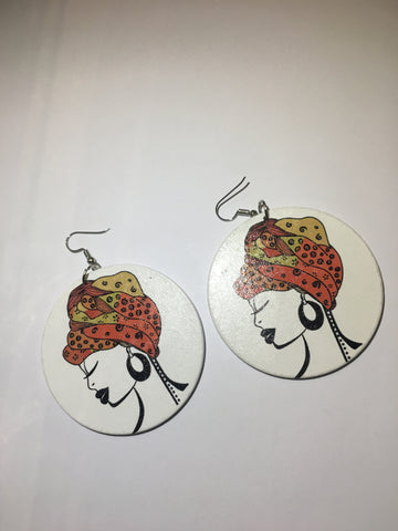 Circular African Female Head Earrings- Orange Multi Head Tie