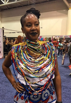 Layered kente armour style colourful necklace