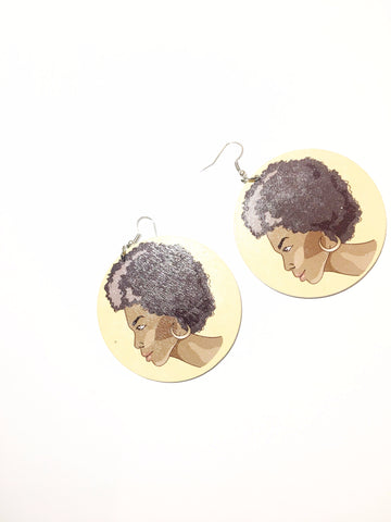 Circular African Female Head Earrings- Afro