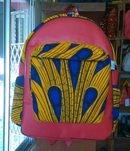Orange - Handmade Leather and African print backpack