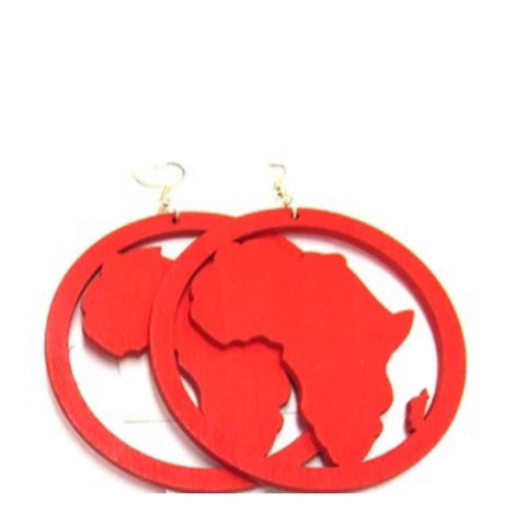 Large 8cm Wooden Africa earrings - Red