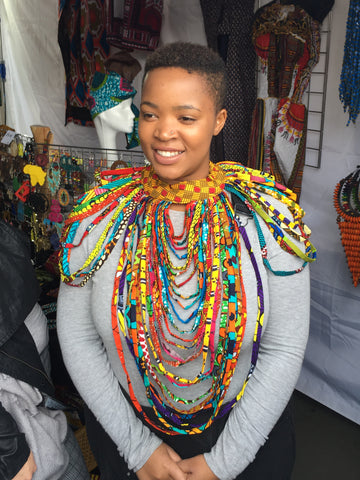 Multi layered african fabric necklace - shoulder