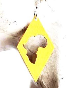 Yellow Diamond Africa Map Earrings - Wooden