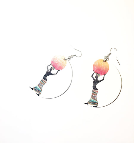 Water Carrier Female- Circle Earrings