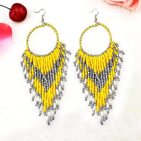 Yellow - bohemian beads long big statement earrings