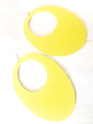Large yellow African drop wood earrings - 4 inch