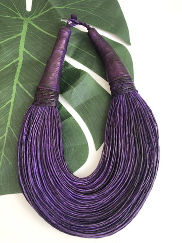 Purple leather layered statement necklace