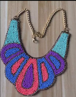 Colorful bead collar bib necklace