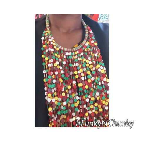 Multi coloured bead statement necklace