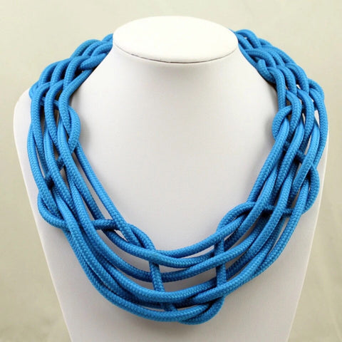 Large blue statement necklace