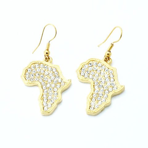 Africa shaped earrings - Small gold plated