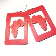 Rectangle Africa Map Wood Earrings