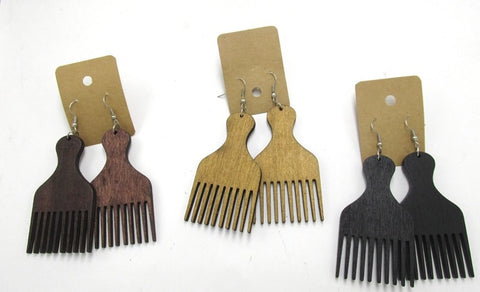 Afro Comb - Afro Pic Wooden Earrings