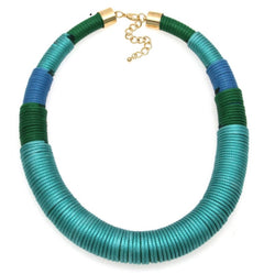 Rope yarn necklace - blue and teal statement necklace