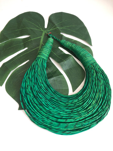 Green leather layered statement necklace