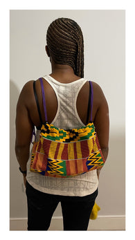Drawstring bag - African kente fabric bag