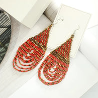 Red - Handmade bead colourful statement earrings