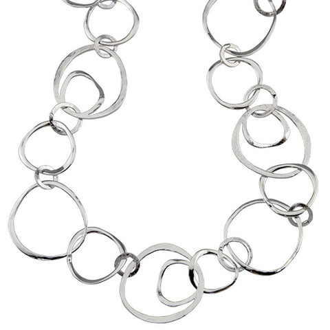 Silver plated long hooped necklace