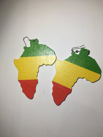 Large Africa Map Earrings - Rasta Colour