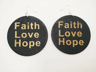 Faith Love Hope - wooden earrings