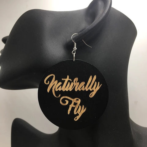 Naturally fly wooden earrings