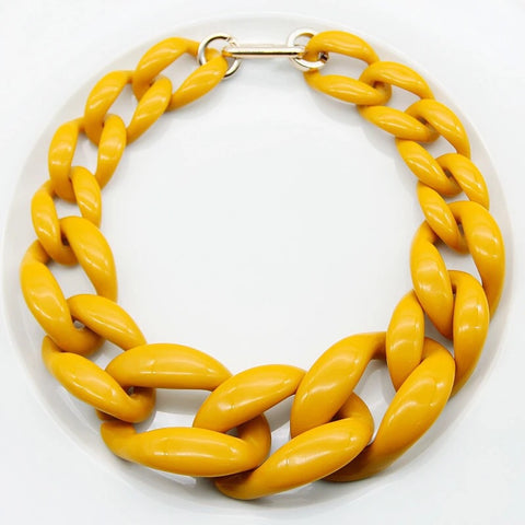Chunky Mustard Choker Necklace