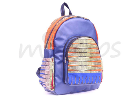 Blue print handmade Leather and African print backpack