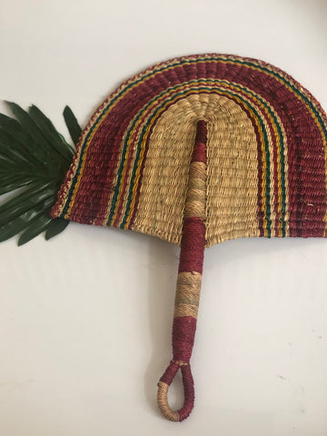 Red Beautiful handwoven and decorative Bolga fan, hand fan, African fan, Ghanaian fan