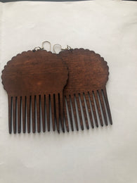 Brown - Afro puff wooden earrings