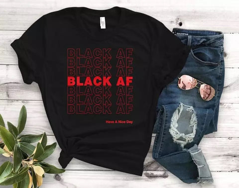 Black AF Slogan T Shirt  - Cotton