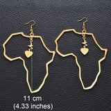 Gold Heart African Map - 11cm Earrings