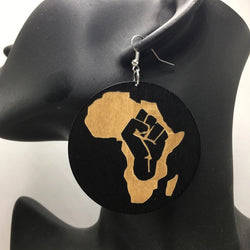 Africa Fist Wooden Earrings