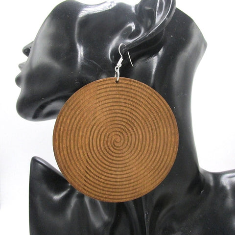 Large Swirl Wooden Disc Earrings