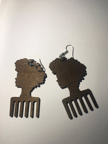 Afro Head Afro Comb Wooden Earrings